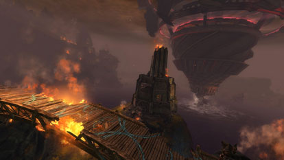 Scarlet's troops are attacking from airships over Lion's Arch.