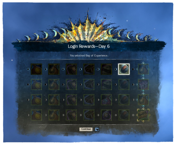 new log-in reward table