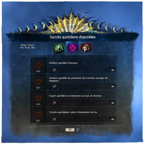 new achievement panel UI